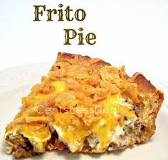 Frito Pie recipe: Ingredients      1 lb. ground beef     1 pkg. taco seasoning mix     1/2 cup water     1 can crescent roll dough     1 cup sour cream     1 cup shredded cheddar cheese     3 cups crushed corn chips     1/4 cup salsa     1/2 stick melted butter .....-CentsLess Deals