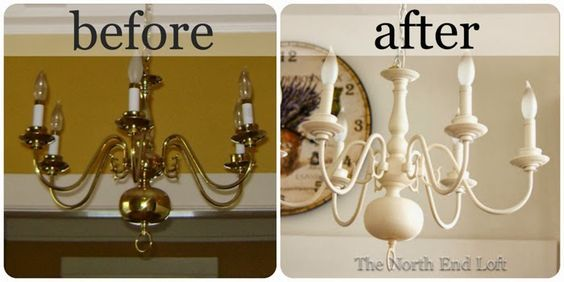 how to paint brass chandelier | Spray Painting a 1990's Brass Chandelier