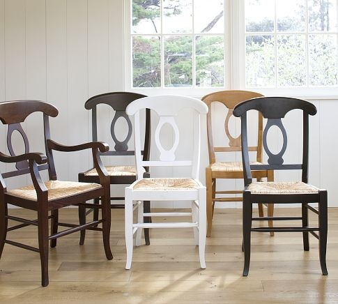napoleon dining chairs from pottery barn in white for the craft room boulevard bungalow. Black Bedroom Furniture Sets. Home Design Ideas