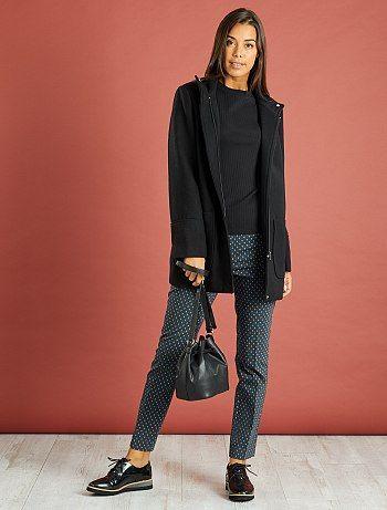Abrigo recto con lana negro Mujer - Kiabi