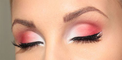 : Eye Makeup, Eyeshadows Looks, Pink Eyeshadows, Colors, Beautiful, Pink Shades, Pink And White Eyeshadows, Hair, Red Eye Shadows