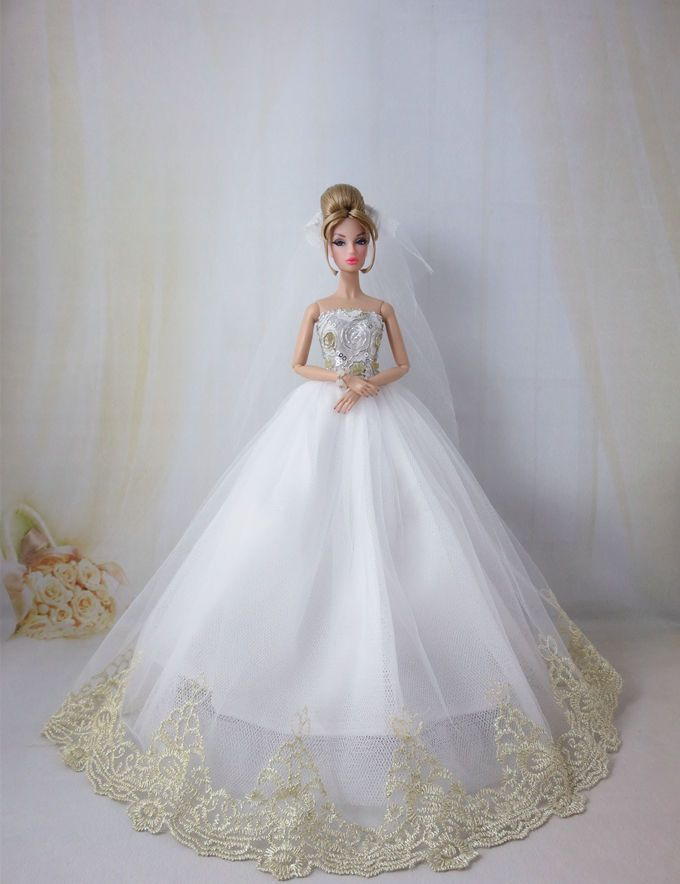 Fashion royalty princess wedding dress gown veil for for How to make a barbie wedding dress