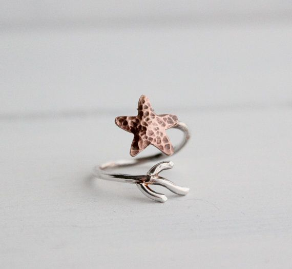 Copper Starfish Coral Branch Adjustable Ring Nautical by HapaGirls