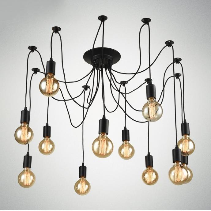 12 Lights Rustic Industrial Black Metal Hanging Pendant Light E26 E27 Edison Bulb Retro Pendant Lights Adjustable Lighting Pendant Lamp