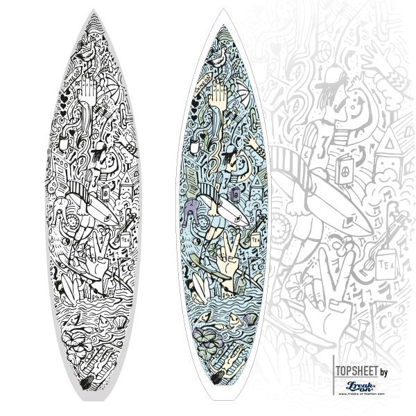 Our latest surfboard design, called SURFMULTIKULTI. For shaper surfboardbilding, fabric for lamination onto boards.