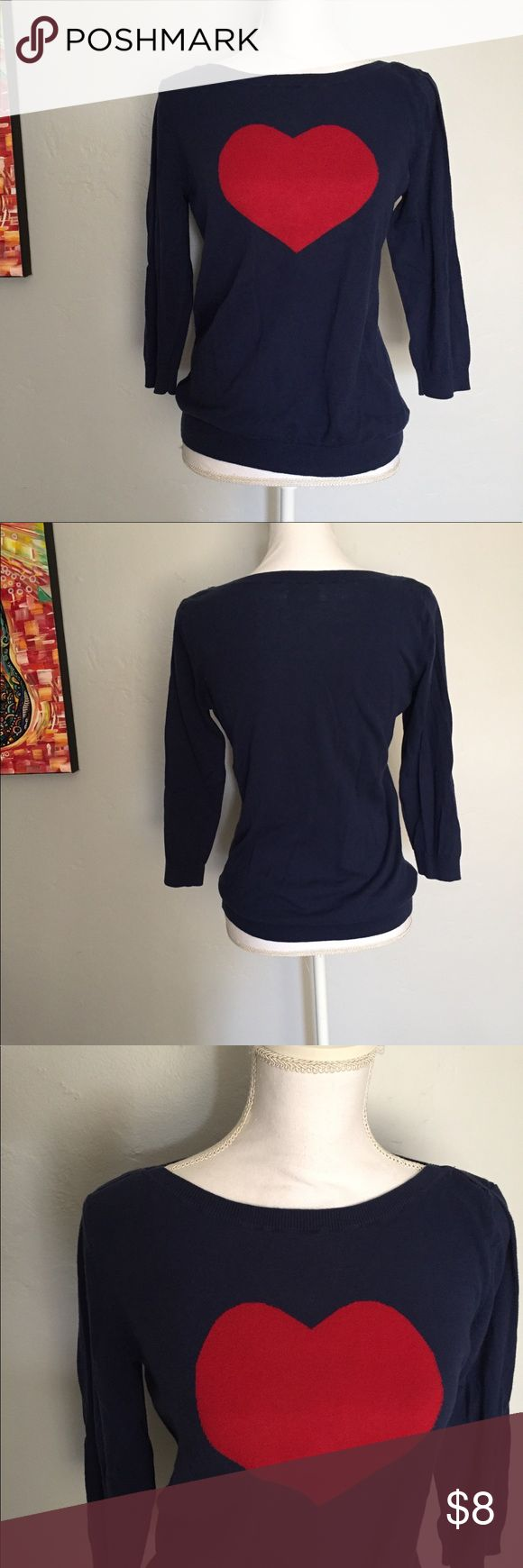 """Heart ❤️ Sweater Boat neck navy sweater with a big ❤️ on the front. 3/4 length sleeves. Good condition. A little faded from washing. Chest measurement armpit to armpit 18"""".  Stretchy. Old Navy Sweaters Crew & Scoop Necks"""
