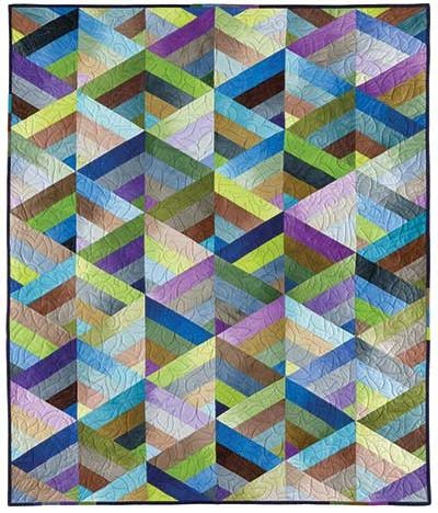 "The quilt is constructed of pieced triangles cut from a jelly roll. The other two quilts included in the pattern are also quick jelly roll strip quilts.    ""Weave"" (left) and ""Rainbow Square"" (right) are just as lovely as ""Prism""."