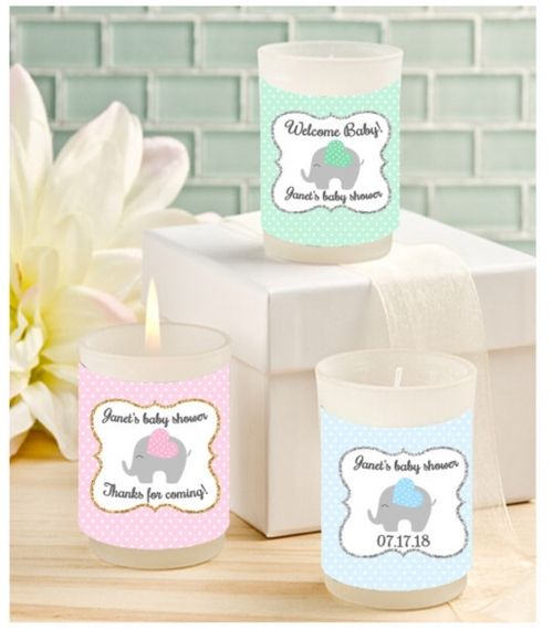 Personalized Baby Elephant Candle for the Little Peanut!