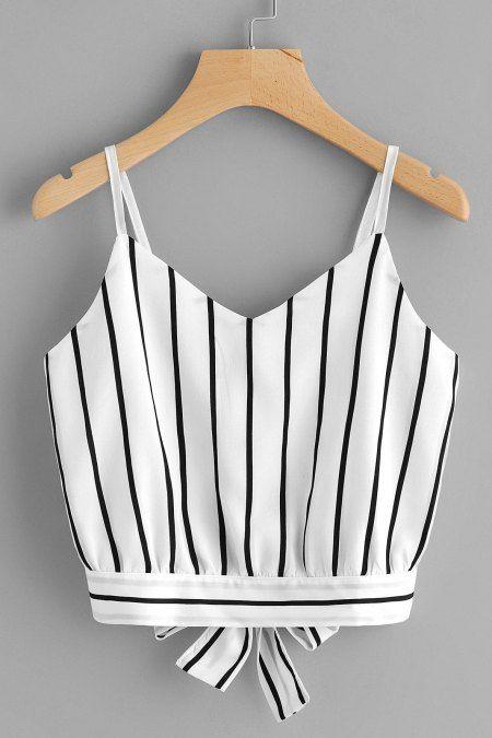 Blusa striped slip tie - Blanco