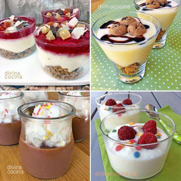 Aquí tienes muchas ideas de vasitos dulces para sorprender a tus invitados. Resuelven un postre de fiesta sin complicaciones y una bonita presentación.