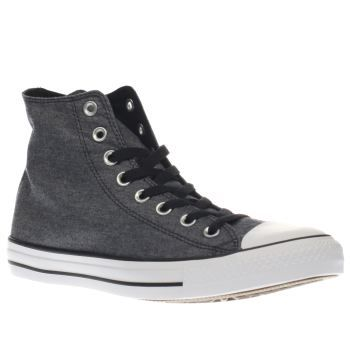 Converse Black Chuck Taylor Hi Chambray Mens Make sure your Converse collection never misses a beat as the Chuck Taylor All Star Hi arrives. The Chambray fabric hi-top features a grey/black colourway, joined with black laces and silver metal eye http://www.MightGet.com/january-2017-13/converse-black-chuck-taylor-hi-chambray-mens.asp