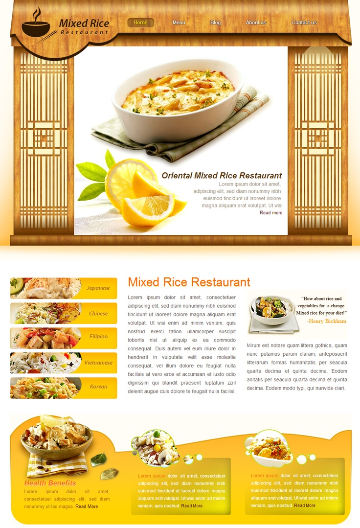 rice restaurant template will work with all modern web browsers it includes html files css file images psd files sliced psd file photoshop source design