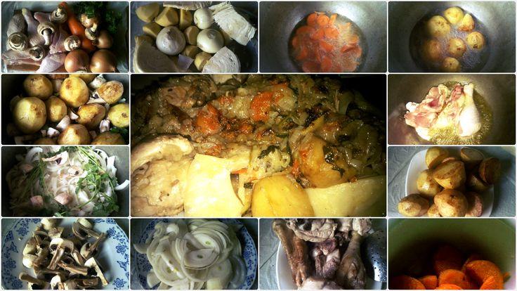 Цыганский казан. Курица, грибы, картофель, морковь, капуста, свежая киндза. Gypsy cauldron . Chicken, mushrooms, potatoes, carrots , cabbage , fresh coriander .