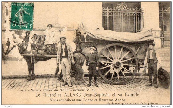 Le Charretier Allard Jean-Baptiste et sa famille vous souhaitent une Bonne et Heureuse Année - Section n°30 (1911)