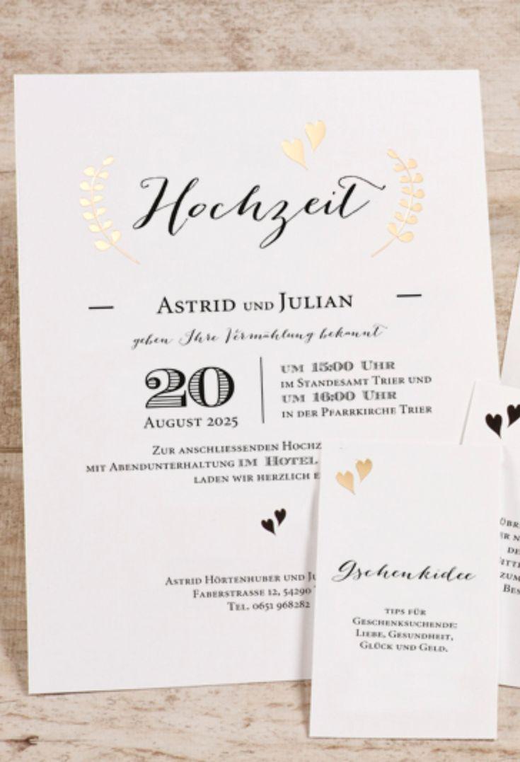 Moderne Hochzeitseinladung Im Handletteringstil Mit