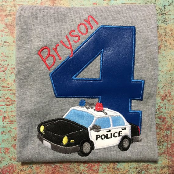 Police/ birthday shirt/ theme/ cop/ police car/ bday/ boy/Tshirt/custom/embroidered/applique