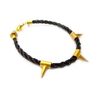 Hand-Woven Horsehair and 22kt Gold-Plated Stud Bracelet