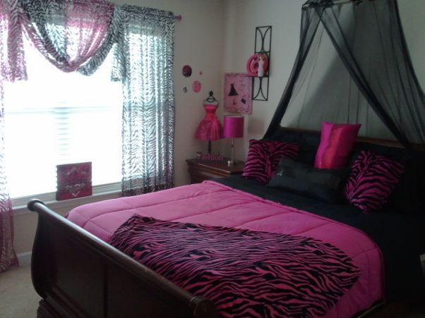 pink Cheetah Print Room Decor | Jezz's Funky Hot pink/Zebra print room, 13 year old funky wild room ...