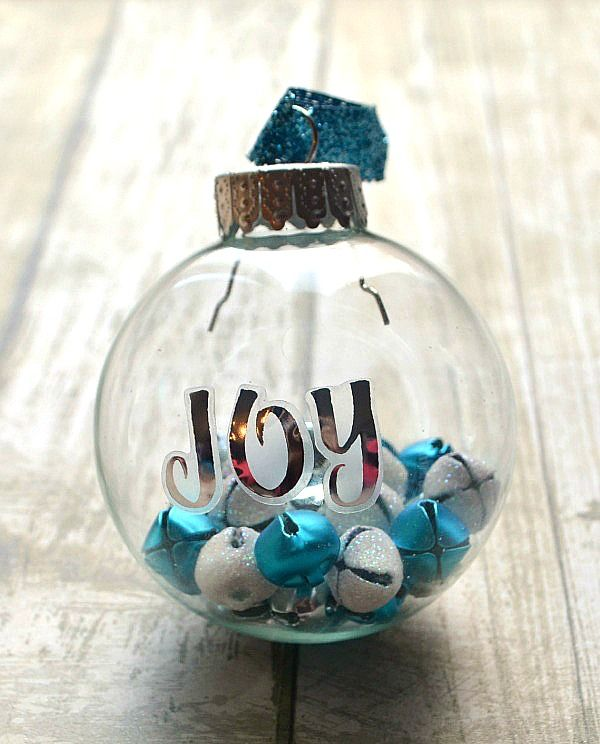 JOY Jingle Bell Ornament. * would use this idea of the bells for a DIY, Clear Acrylic Fillable Ball Ornament.