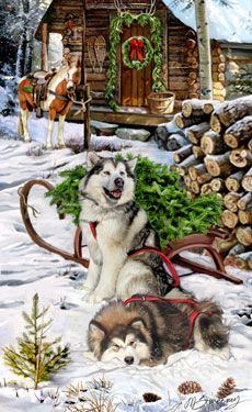 """New for 2013! Malamute Christmas Delivery Cards are 8 1/2"""" x 5 1/2"""" and come in packages of 12 cards. One design per package. All designs include envelopes, your personal message, and choice of greeting.Select the inside greeting of your choice from the menu below.Add your custom personal message to the Comments box during checkout."""