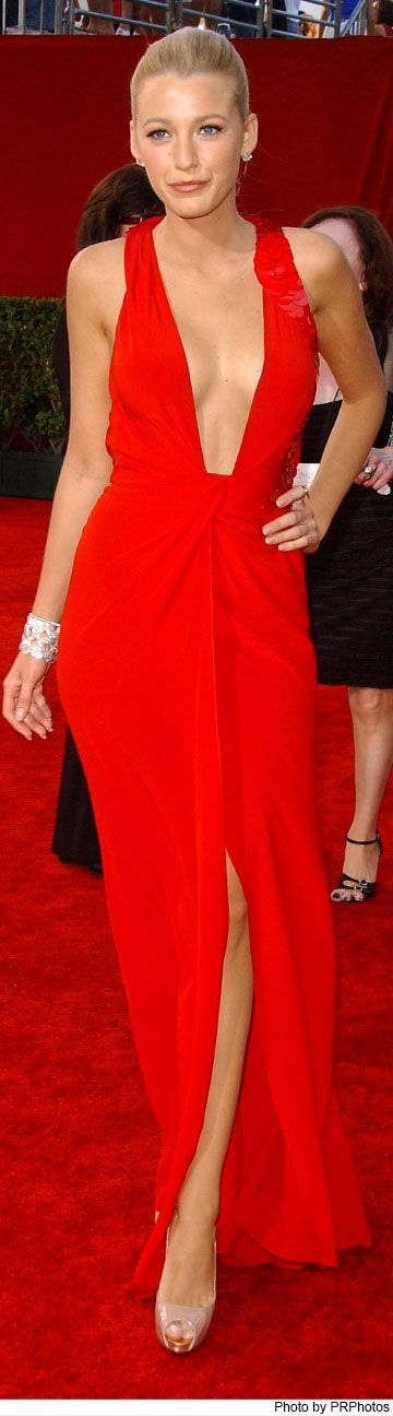 Blake Lively wearing Versace red dress - 2009 Emmy Awards: | ON ...