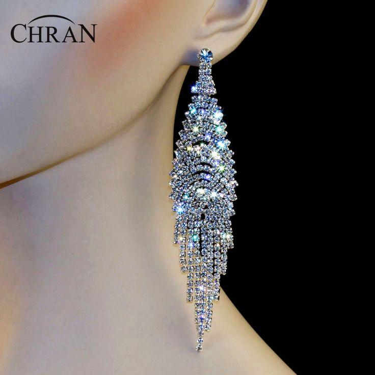 "Chran New Luxury Bridal Gold Color Rhinestone Crystal Earings Wedding Party Dangle 5.7"" Chandelier Drop Earrings Jewelry LE804 #Affiliate"