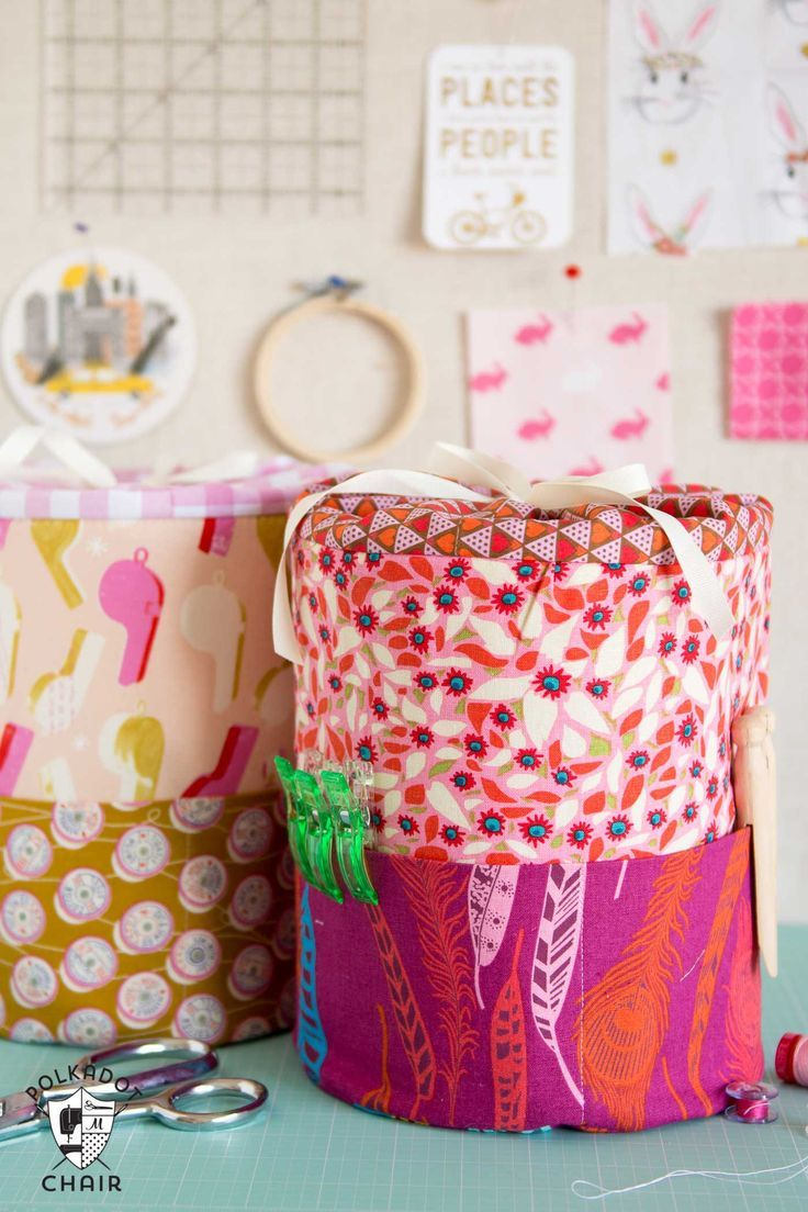 Sewing Pattern for DIY Padded storage bins, you can make them in 3 different siz...