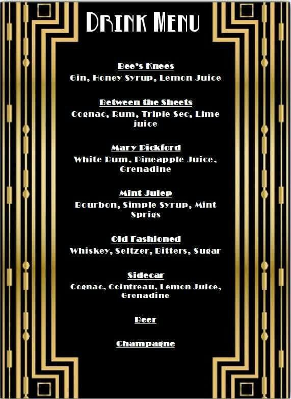 1920's Drink Menu 20's, cocktails, speakeasy, prohibition ...