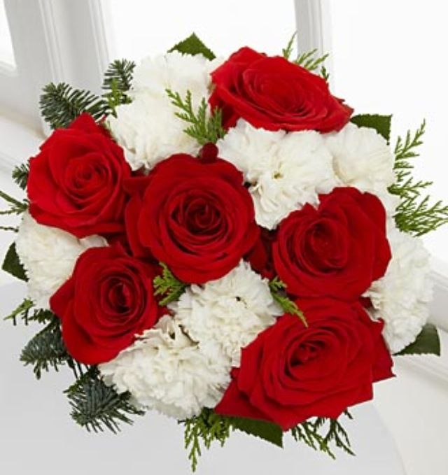 Red rose and white carnation bouquet :)