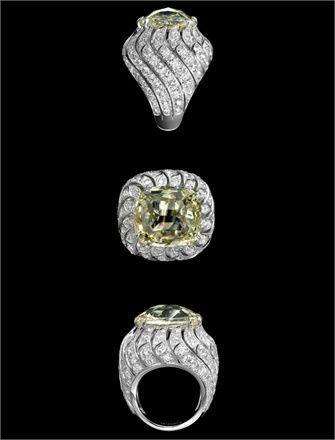 Cartier   Solar Landscape ring. A light yellow diamond, white diamonds and platinumCartier Rings, Biennial, Solar Landscapes, Rings Cartier, Jewelry Rings, Fine Jewelry, Biennale Rings, 26Th Biennale, Antiques