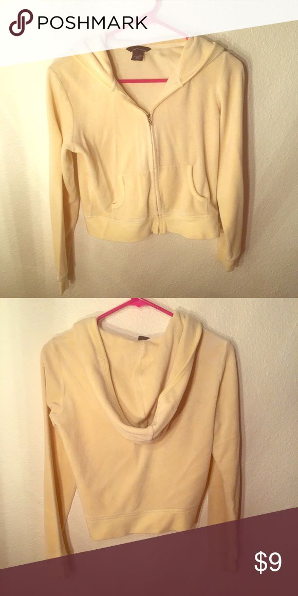 Pale yellow zip up hoodie-XS Pale yellow zip up hoodie-XS. Some evidence of wear but still a great piece to have! Moda International Tops