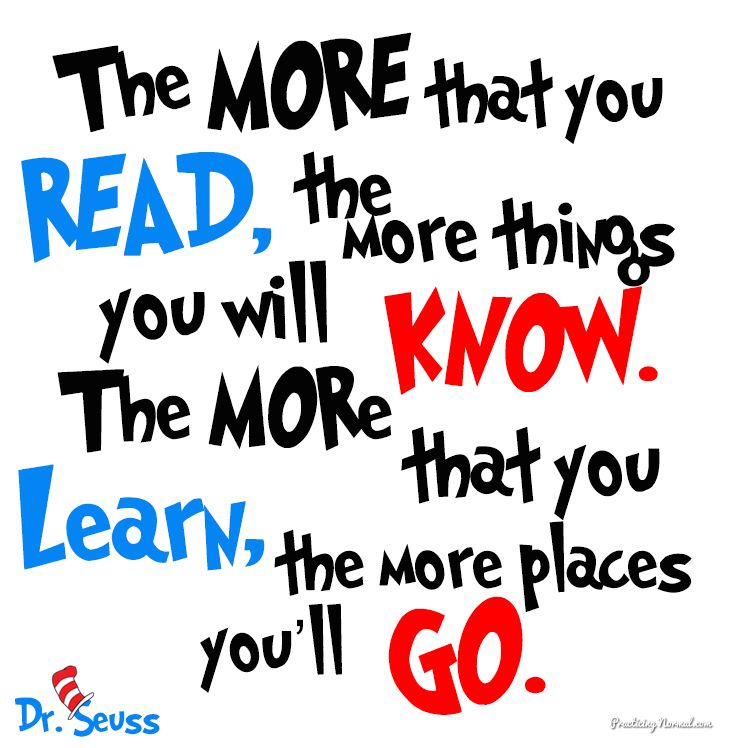 Image result for dr. seuss the more you read quote