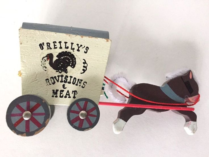 VNTG Kurt Adler Wooden Horse Drawn Wagon O'Reilly's rovisions & Meat Ornament