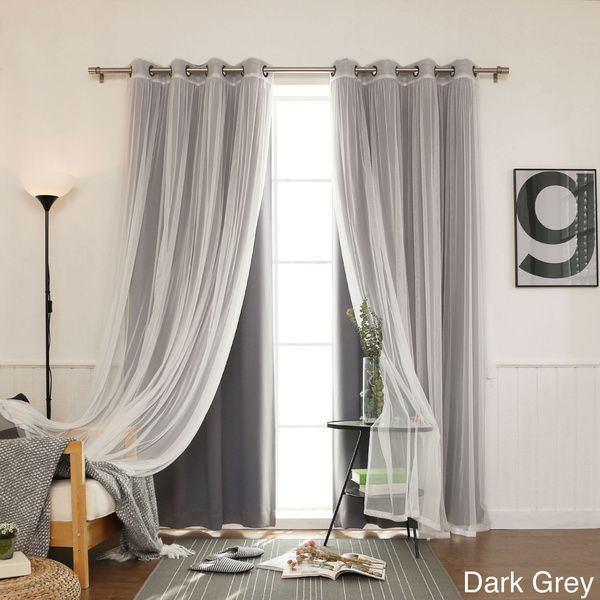 Aurora Home MIX Match Curtains Blackout Tulle Lace Sheer Bronze Grommet Curtain Panel Pair Dark Grey Size 52 X 84