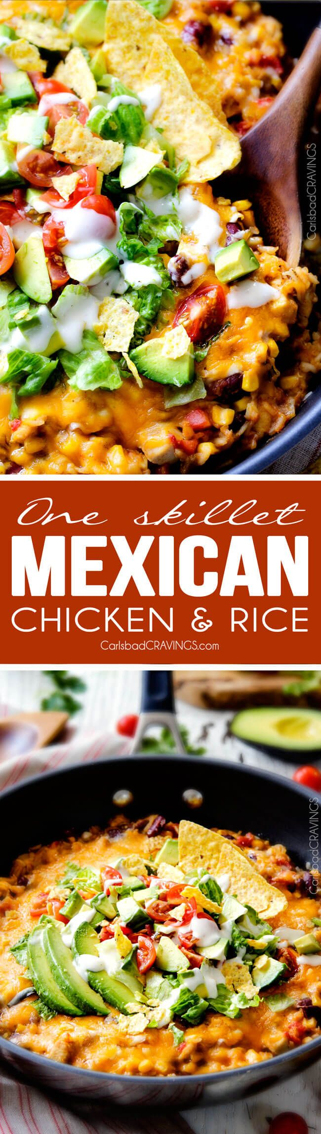 Creamy, Cheesy One Skillet Mexican Chicken and Rice on your table in 30 minutes! Quick, easy and packed with hearty Southwest flavors and textures!