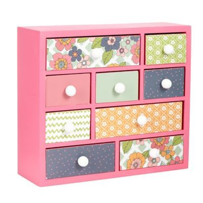 At home with Ashley Thomas Pink printed mini drawer unit- at Debenhams.com