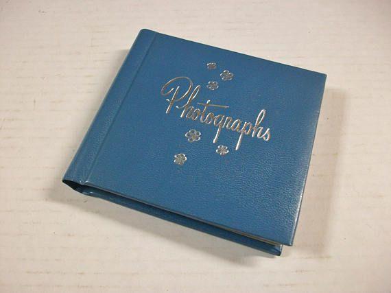 Blue Photograph Album, Vintage Mini Photo Album, Compact Photo Brag Book, Blue Floral Photographs Album, C.R. Gibson, Unused