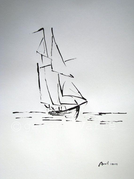 Dessin original à lencre 2014 11,69 x 16, 14 (29, 7 cm x 41 cm) « Voilier ». Auteur : António. Ce dessin est un original ; lun des types.