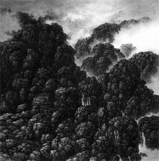 Hsia I-fu, Cliffs and Cascades, Tiny Waterfalls (2000), Ink on Xuan paper, 53 × 53 cm