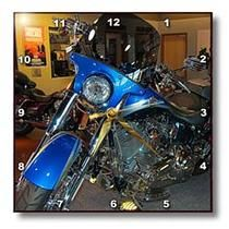 3dRose - Jos Fauxtographee Realistic - A Vibrant Blue Harley-Davidson® on a Showroom Floor in St. George, Utah - Wall Clocks