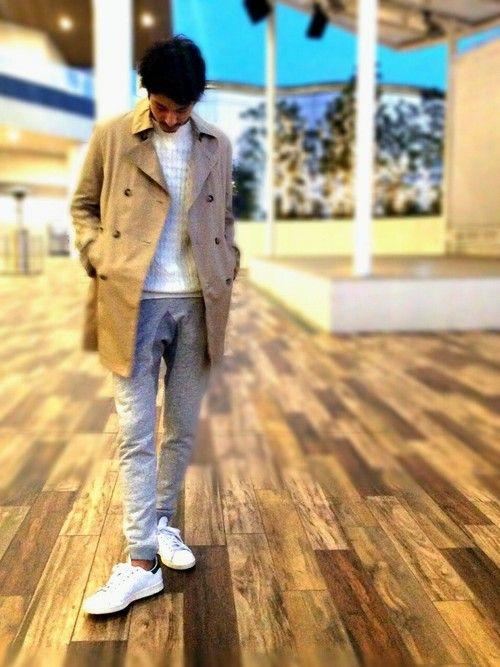 LE JUN イオンモール幕張新都心店 | ダッフルコート「LE JUN シャンブレーギャバトレンチ」を使ったコーディネート #lejun #ルジュン #style #europeancomfort #coat #adidas #sneaker #grey #spring