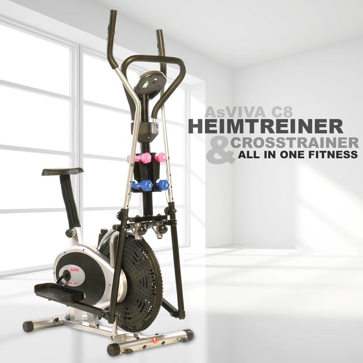 AsVIVA Heimtrainer & Crosstrainer C8 ein 2 in 1 Fitnessgerät. All in One Fitness inkl. Hanteln so macht Fitness Spaß! Ausdauertraining mit 2 Funktionen ein echter Hit!