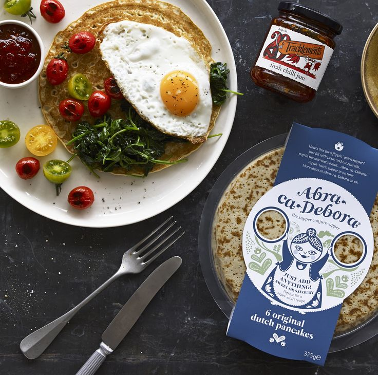 Breakfast Pancake with Tracklements Fresh Chilli Jam and Abra-ca-Debora Dutch Pancakes!