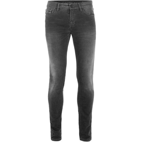 TOPMAN Calvin Klein Grey Skinny Jeans ($135) ❤ liked on Polyvore featuring men's fashion, men's clothing, men's jeans, grey, mens grey jeans, mens grey skinny jeans, mens tapered jeans, mens skinny fit jeans and mens skinny jeans