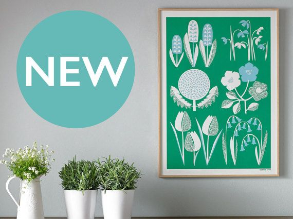 Spring. Large oversized mid-century modern style by BobbiePrint