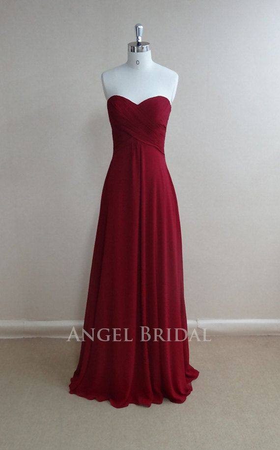 Simple Burgundy Chiffon Long bridesmaid dress, bridal Party dress, bridesmaid gowns, Long Bridesmaid Dress With Sweetheart Neckline on Etsy, $115.00