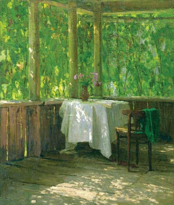 """Alexei Gritsai (Russian, 1914 – 1998) - """"The Veranda at My House"""" (1950's) - Oil…"""