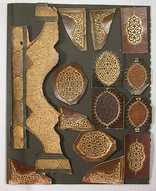 Fragments of bookbindings from Iran or Turkey dated 17th-19th century.
