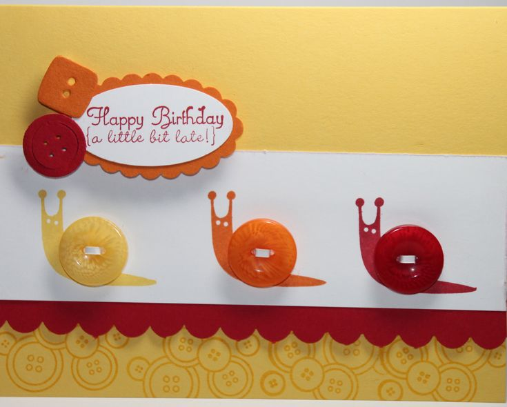 Happy Belated Birthday Snail Stampin Up Handmade Card