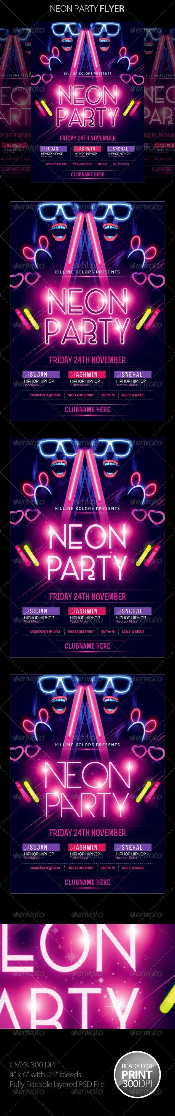 Neon / Glow Party Flyer #party #poster #print • Available here → http://graphicriver.net/item/neon-glow-party-flyer/8620238?s_rank=143&ref=pxcr